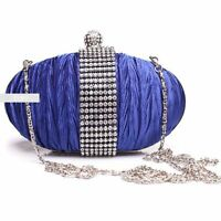 Stylish Royal Blue Diamante Wedding Ladies Party Evening Clutch Hand Bag Purse