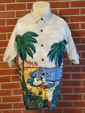 Walt Disney World Button Front Mens Large Cotton Shirt Mickey Mouse Hammock Euc