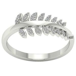 Anniversary Ring Natural Round Cut Diamond SI1 G 0.25 Ct 14k White Gold 8.00 MM