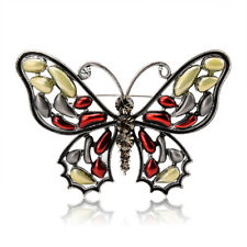 Women Big Enamel Butterfly Brooches Antique Silver Plated Rhinestone Brooch Pin