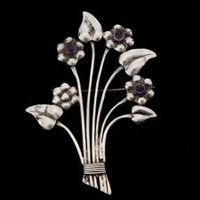 Vintage Mexican Silver Amethyst Floral Bouquet Brooch Pin Taxco