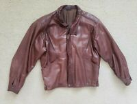 Vintage Bally Mens Bomber Embossed Leather Jacket Brown Made In Italy Sz 40 USED