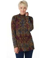 Susan Graver Womens Printed Sweater Knit Mock-Neck Tunic X-Small Red A367772