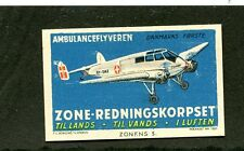 Vintage Poster Stamp Label ZONE REDNINGSKORPSET Denmark Air Ambulance Airplane