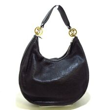 Auth GUCCI GGTwins/Guccissima 232962 Black Leather Womens Shoulder Bag