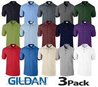 3 Pack Gildan Ultra Cotton Adult Pique Plain Polo Shirt Tee T Shirt Ringspun
