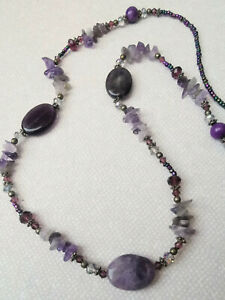 Amethyst stone and glass beaded long necklace