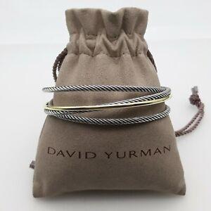David Yurman Crossover Collection Silver & 18k Yellow Gold 3 Row Cuff Bracelet