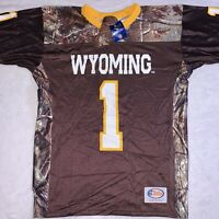 Wyoming Cowboys Football Jersey Realtree Camo Men's Size Large Made USA