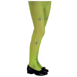 Child Girls Glitter Spider Web Lime Green Witch Halloween Costume Tights L