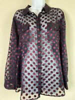 Chicos Womens Size 2 Sheer Polka Dot Button Front Blouse 3/4 Sleeve