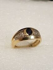 Bague Or jaune 18 k  1 saphir, 24 petits diamants-  gold 750. T 55  5.9 gr