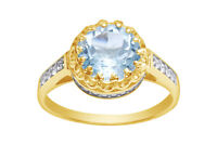 Sky Blue Topaz & White Sapphire 14k Yellow Gold Over Sterling Silver Crown Ring