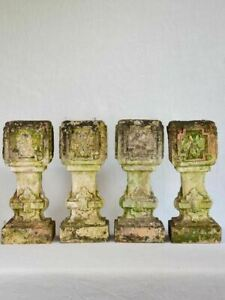 """Set of 4 clay salvaged balustrades from the early 20th-century 15¾"""""""