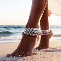 Silver Anklet Bracelet Jingle Anklet Tribal Mesh Dangle Beach Boho Charm Coins