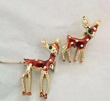 baby Rhinestone Pearl Pin Enameled Duet Sweet Vintage pair spotted Deer mother