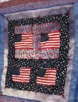 Vintage Handmade Quilt Patriotic Red White Blue. Cows, Estate Small 36 x 36