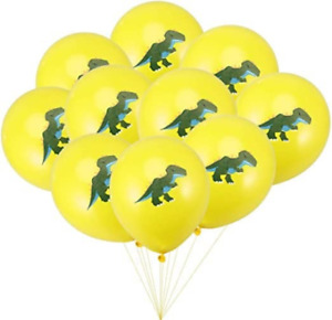 "12 Pack 12"" Dinosaur Balloons Yellow T-Rex Dino Tyrannosaurus Boy Birthday Party"