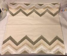 NWT Williams Sonoma Home 100% Cotton Embroidery Square Pillow Cover ZigZag Beige