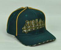 MLB Oakland Athletics Mens Green Plaid Fit Hat 7 1/8 7 1/4 High Crown Hat Cap