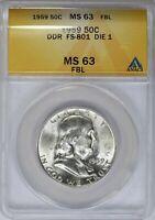 1959 ANACS 50C Silver Franklin Half Dollar MS63FBL DDR FS-801 DIE 1 *6230954