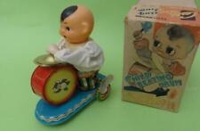 CHILD BEATING DRUM CLOCKWORK TIN TOY w/ KEY IN ORIGINAL BOX CHINA 1970's WORKS!
