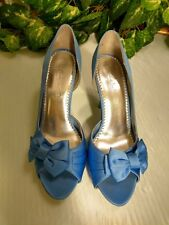 "Michaelangelo blue satin Sz 9.5M stiletto heels 4.5"" Maribelle"