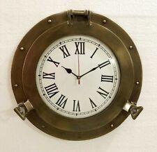 Vintage Antique Marine Brass Ship Porthole Clock 10'' Ship Window Wall Clock