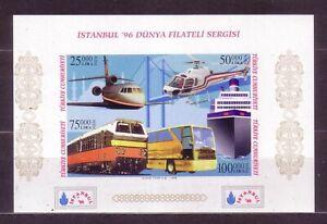Verkehrsmittel Türkei Eisenbahn Flugzeug Bl. 32 Ba **/MNH 2 Bilder