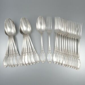 Antique French Silver Plated Flatware Set for Twelve, Neoclassic Ribbons, 24 pcs