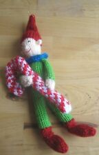 HAND KNITTED XMAS SUGAR CANE ELF TREE DECORATION? 9 INCHES TALL