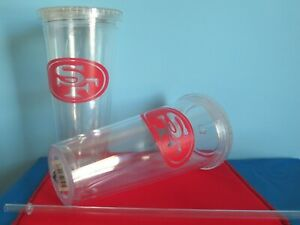 FOUR(4) SAN FRANCISCO 49ers, 24oz, PLASTIC, SIP N GO, TRAVEL TUMBLERS WITH STRAW