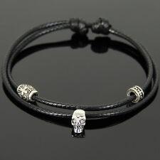 Men's Braided Bracelet 925 Sterling Silver Skull Bead Cross Spacer 1105M