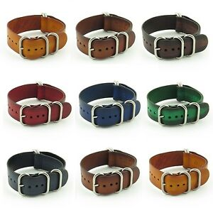 StrapsCo Vintage Leather Watch Band Mens Strap Heavy Duty Rings