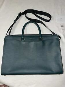 NWT Men's Coach Leather Laptop Office Messenger Bag Forest Green