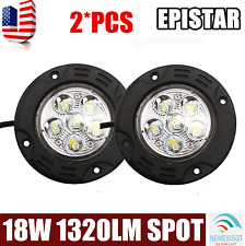 2X 18W Round Spot LED Work Driving Light Flush Mount Offroad 4WD Tractor 6000K