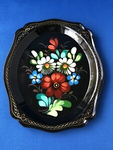 Vintage Made in USSR Russia Russian Hand Painted Flower Black Gloss Tin Tray