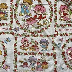Strawberry Shortcake JCPenney Twin Fitted Sheet Vintage 80s Fabric Cutter