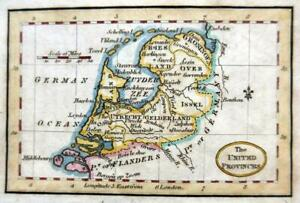 HOLLAND  MINIATURE ENGRAVED  MAP c1808   GENUINE ANTIQUE COPPER PLATE MAP
