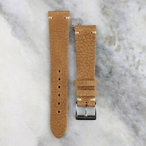 Vintage Style Calfskin Leather Watch Strap - Light Brown - 20mm/22mm