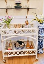 Vintage Ficks Reed Rattan Rolling Bar Cart