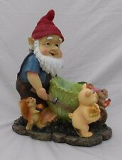 "Garden Gnome With Push Cart & Farm Animals, 10.5"" Tall, by MayRich"