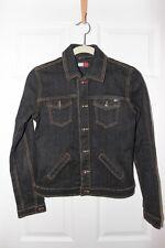 TOMMY HILFIGER Womens Jacket Dark Blue Jean Denim Button Front S/P Long Sleeve
