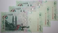 (PL) RM 5 BJ 3575026-28 UNC, 3 PCS MALAYSIA ZETI PAPER LAST PREFIX, RARE, OFFER