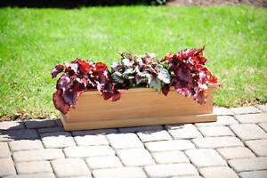 Teak wood planter flower herb tree window box garden, 25x9x8 (OD)