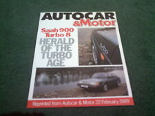 Feb 1989 Saab 900 Turbo 8V 2 DOOR - Autocar ROAD TEST REPRINT BROCHURE