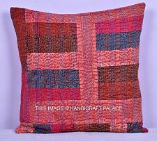 Solid color Patchwork Cushion Cover Kantha Stitch Pillow Case Cotton Throw 16""