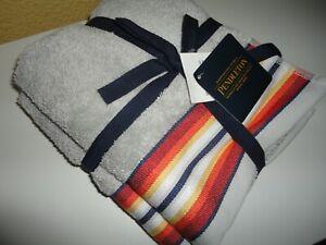 PENDLETON SALTILLO STRIPE GRAY RED SOUTHWESTERN (2P) HAND TOWEL SET 16 X 28