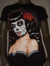 Nwt Juniors S Black Dia De Los Muertos Raven Day of the Dead Bettie Page T Shirt
