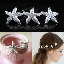 Fashion Wedding Bridal Hairpin Jewelry Starfish Crystal Rhinestone Hair Clip Pin